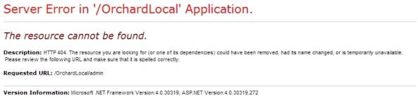 Orchard - 404 error